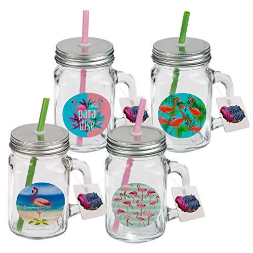 4er Set Trinkglas ''Flamingo'' | Einmachglas | Tringlas | Sommerglas | Küche | Flamingo | Garten | Geschenk für Freunde | Deko | Milchshakeglas | Cocktailglas | mit Strohhalm und Deckel | Henkelglas | Preis am Stiel® - Mit Deckel Metall-krug
