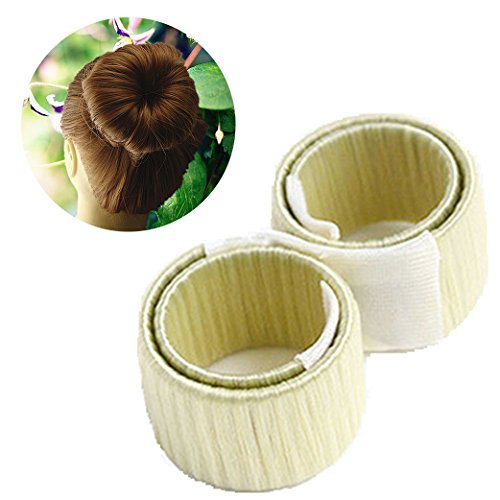 Demarkt 2x DIY Disk-Haar Knotenringe Donut Hair Bun Mode Frisur Damen Fashion Haarstyling Tool Haarknoten Knotenringe, Cremeweiß