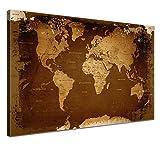 """LANA KK - Weltkarte Leinwandbild mit Korkrückwand zum pinnen der Reiseziele – """"Weltkarte Retro Dark"""" - deutsch - Kunstdruck-Pinnwand Globus in braun, einteilig & fertig gerahmt in 120x80cm"""