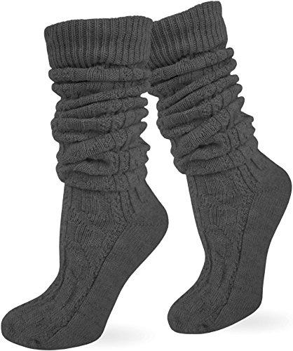 normani Zopfstrumpf elegant mit doppeltem Zopfmuster für Kniebundhosen und Trachtenkleidung Farbe Anthrazit lang Größe 35/38