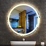 Specchio da Bagno a LED Illuminato Specchio da Parete in Vetro HD Specchio Arrotondato Senza Cornice Bordi smussati Interruttore sensore Touch Pad