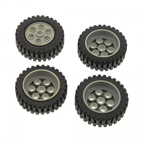 4 x Lego Technic Rad schwarz 30mm D. x 13mm Felge alt-hell grau Räder 13 x 24 Technik Model Team 2696 2695c01 -