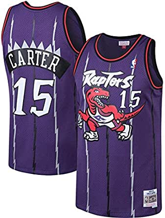 senza maniche maglietta sportiva per addestramento adulti giovani ragazzi ricamo retr/ò LXZ Toronto Raptors Raptors Carter #15 Basketball Jersey scollo rotondo