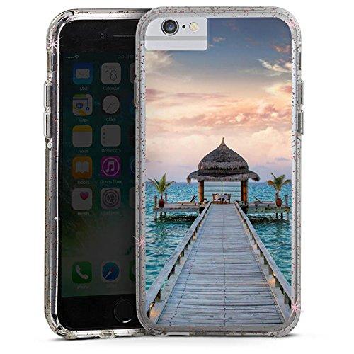 Apple iPhone X Bumper Hülle Bumper Case Glitzer Hülle Steg Urlaub Ocean Bumper Case Glitzer rose gold