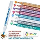 PuTwo Acrylstifte Wasserfest, Acryl Stifte Set von 8 Acrylstifte und 1 Reinigungsmarker Acryl-Farben Stifte Acrylstifte Marker Stifte Acrylic Painter für Glasmalerei, Stoffmalerei, Porzellan Bemalen