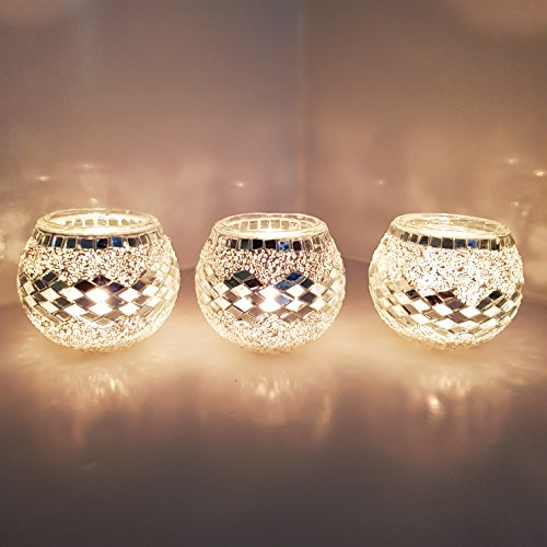 Set of 3 X Handmade Turkish Moroccan Glass Mosaic Candle Holder Tea Light Votive Candle Holders
