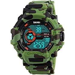 Bozlun Digital Watch CamouflageGreen Military Sports Style LED Auto Date Alarm Backlight Stopwatch Waterproof