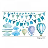 nikima Schönes für Kinder 016 Wandtattoo Girlande Wimpelkette Ballon Wolke Regen Sterne Mint blau grün Aquarell - in 6 Größen - Kinderzimmer Sticker Babyzimmer Wandbild Junge - 1000 x 560 mm