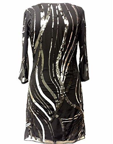 Damen Schwarz verschönert Shift Kleid Tunika Kleid Schwarz - Schwarz