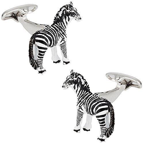Cuff-Daddy - Gemelli con zebra Safari Collection, in confezione regalo
