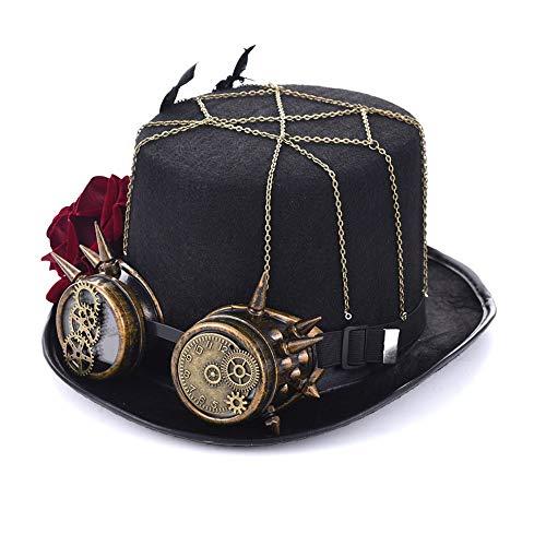Steampunk Zylinder Rolle Retro Frau Steampunk Rose Zylinder mit Brille Retro Bekleidungszubehör Hut (Farbe : Schwarz, Größe : 57cm)
