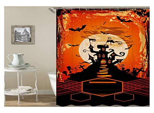 Aeici Duschvorhang Halloween Party Schloss Und Fledermaus Bad Vorhang Polyester Bad Vorhang Bunt 165X180Cm