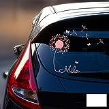 ilka parey wandtattoo-welt® Autotattoo Heckscheibenaufkleber Fahrzeug Aufkleber Sticker Baby Name Pusteblume M1864 - ausgewählte Farbe: *weiß* ausgewählte Größe: *M - 28cm breit x 25cm hoch*
