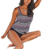 AHOOME bademode damen große größen ,damen Bikini-Sets Oversize Blume Tankini Set(Mehrfarbig4,3XL)