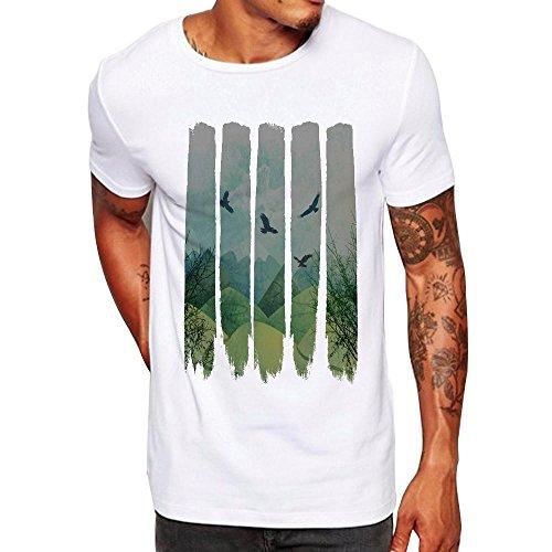 Beikoard - Chemise Vetement Hommes Été, Hommes Impression T-Shirts Gilet Chemise à Manches Courtes T-Shirt Blouse (Blanc1, 2XL)
