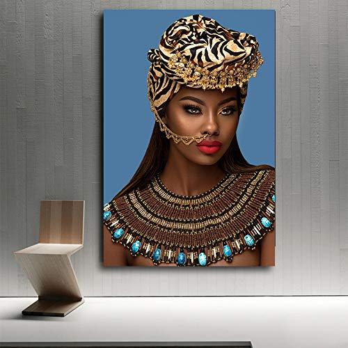 GJQFJBS African Indian Make-up Frau und ihre roten Lippen Leinwand Malerei typografische Poster und Drucke Wohnzimmer Wandbild (kein Rahmen) A1 70x100cm