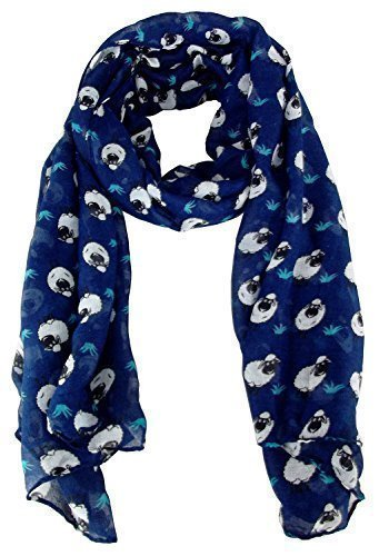 city-girl-ladies-sheep-print-chiffon-scarf-ornamental-kerchief-one-size-dark-blue