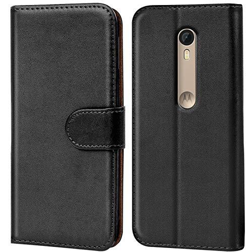 Verco Moto X Style Hülle, Handyhülle für Motorola Moto X Style Tasche PU Leder Flip Case Brieftasche - Schwarz
