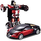 X Zini Toys Friction Family Transformer Toy Racing Car - Automatic Convert from Car to Robot for Kids
