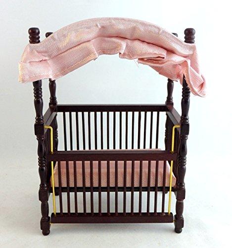 Miniatura Per Casa Delle Bambole 1:12 Bilancia Vivaio Bambino Mobili Mogano Legno Baldacchino Culla/lettino