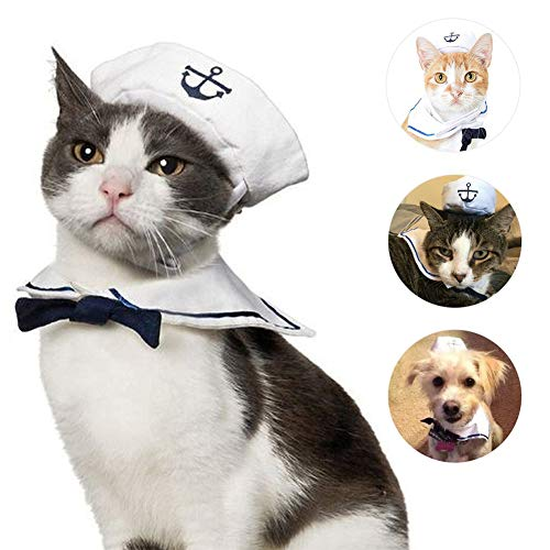 Piraten Hunde Kostüm - ZOOENIE Haustierkostüm für Hunde und Katzen, lustiges Piraten-Motiv, inkl. Hut, Haustier Hund Katze Halloween Kostüme, Hundekostüm Sailor Kostuem Hut Marine