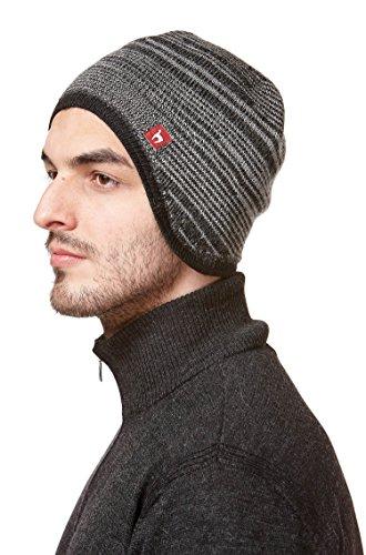 Vlies-haube Hat (Mütze Herren gefüttert Winter schwarz-grau MOUNTAIN Haube mit Baumwoll-Vlies und Ohrenklappen APU KUNTUR M)