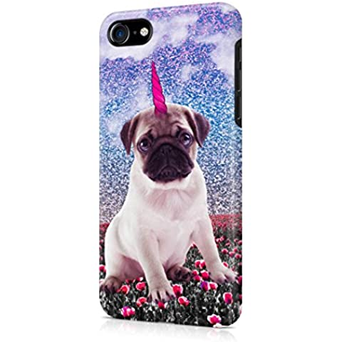 Cute Pug Unicorn In Poppy Field Apple iPhone 7 Snap-On Hard Plastic Protective Shell Case Cover