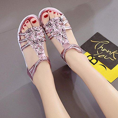 Sommer Schuhe für Damen,Kaiki Dick Soled Sandalen Weibliche Sommer Flache Sandalen Match Freizeit Frauen Sandalen Pink