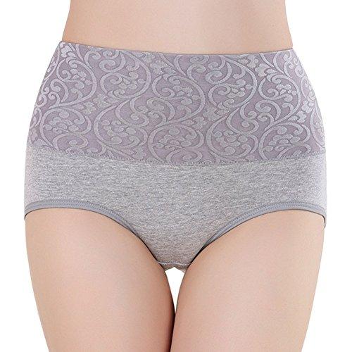 Meijunter 2Pcs Damen Hohe Taille Körperformung Unterwäsche Baumwolle Süßigkeit-Farben Girls Höschen Gray