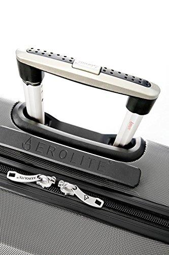 Aerolite Leichtgewicht ABS Hartschale 4 Rollen Handgepäck Trolley Koffer Bordgepäck Kabinentrolley Reisekoffer Gepäck, Genehmigt für Ryanair, easyJet, Lufthansa und viele mehr 3 Teilig Kohlegrau - 5