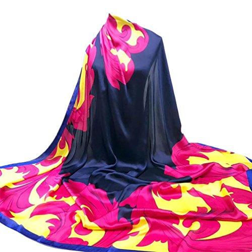 YunYoud Damen Drucken Hijab Schals Frau Schön Lange Wickelschal Seide-Satin Platz Schal Weich Schal Super Komfortabel Schals (140*140CM, Pink) (Schal Lange Drucken)