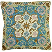 Mogul Interior Bohemian Exquisite Stereoscopic Embroidered Cotton Pillow Cover, Sofa Cushion Cover 16X16 (Sky Blue-1)