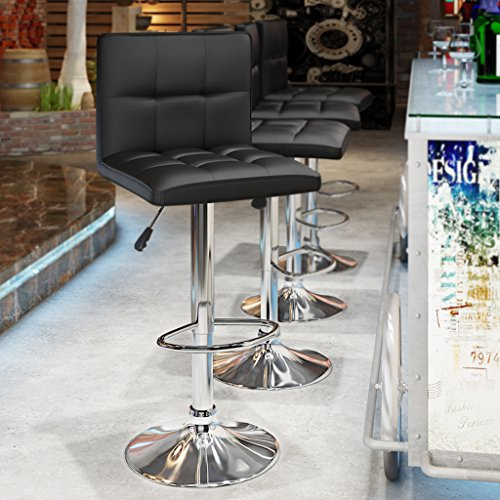 LANGRIA San Francisco Bar Stools Set with Backrest, Leatherette Exterior, Adjustable Swivel Gas Lift, Chrome Footrest and Base for Breakfast Bar, Counter, Kitchen and Home (2 PCS, Black