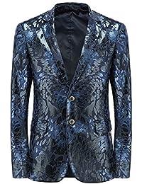 Zicac Herren Slim Fit Anzug Blazer Gold Print Jacke Zwei Knopfverschluss