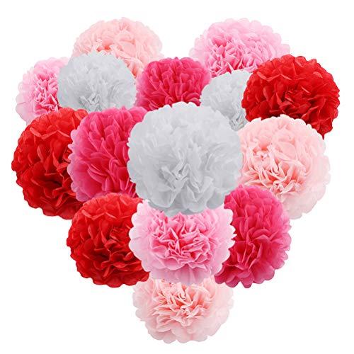 SUPVOX 15 stücke seidenpapier Blumen Dekorationen seidenpapier chrysanth Blumen DIY basteln für Arty Hochzeit Geburtstag sammeln (rosa) - Giant Paper Flowers Kit
