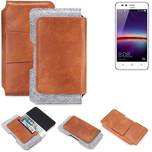 K-S-Trade® Gürteltasche Für Huawei Y3 II Dual-SIM Gürtel Tasche Schutz Hülle Hüfttasche Belt Case Schutzhülle Handy Hülle Smartphone Sleeve Aus Filz + Kunstleder (1 St.)