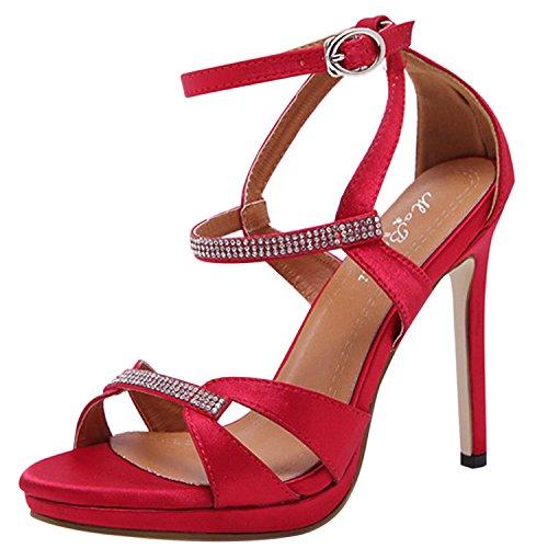 Oasap Damen Offen Schnalle Stiletto Mit Pailletten Sandalen Red
