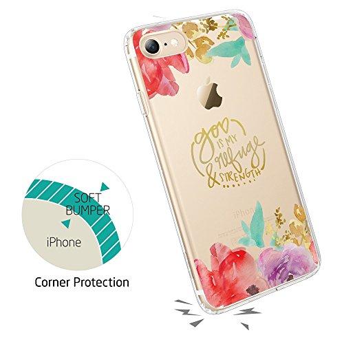 Coque iPhone 8, Coque iPhone 7 Fleur, ESR Coque Transparente Motif Nature Tropical Imprimé, Housse Etui de Protection Bumper en Silicone avec Dessin Floral Feuille Forêt Tropique [Anti Choc] [Anti Ray Fleurs Aquarelle