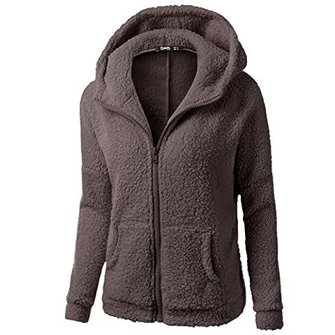OverDose,Manteau Fourrure Grande Taille Femme Sweat à Capuche Zippe Vestes Capuche Hiver Outwear (XXXXXL, Coffee)