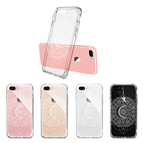 iPhone 8 Plus Hülle, iPhone 7 Plus Hülle, MOSNOVO Henna Mandala Blumen Muster TPU Bumper mit Hart Plastik Hülle Durchsichtig Schutzhülle für iPhone 7 Plus / iPhone 8 Plus (Hafl White Mandala) Moon Henna