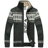 Webla Herren Grobstrick Norweger Pullover Winter Strickjacke Kapuzenpullover (2XL, Grün)