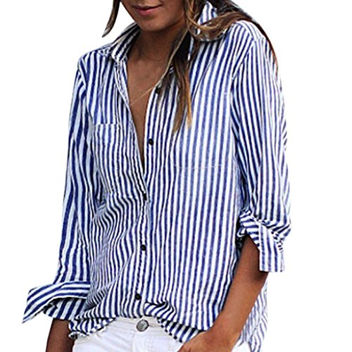 White blue striped blouse