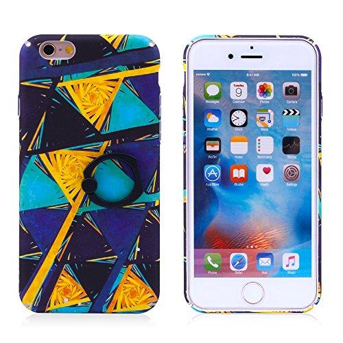 """iProtect Hardcase mit Ring Halter Marmor Design Schutzhülle in Schwarz mit Fingerhalterung für Apple iPhone 6 6s (4,7"""") Dreiecke bunt"""