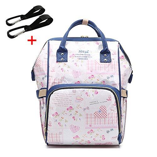 Preisvergleich Produktbild Baby Wickelrucksack mit 2 Kinderwagen-haken, EVA Multifunktionale Wasserdichte Wickeltasche mit große Kapazität, Babytasche für Reise (Pinke Blume)