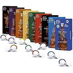Kaffee-Liebhaber-Box - 9 x 10 BIO Kaffeekapseln von My-CoffeeCup | Kompatibel mit Nespresso®*-Maschinen | 100% kompostierbare Kapseln ohne Alu | 90 Kapseln 9 Sorten