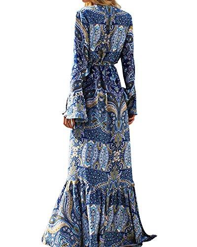 StyleDome Damen V-Ausshnitt Langarm Locker Unregelmäßigen Boho Maxi Lange Kleid Floral