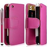 Housse coque étui portefeuille pour Apple Iphone 3G / 3GS couleur rose fuschia + stylet luxe + film écran