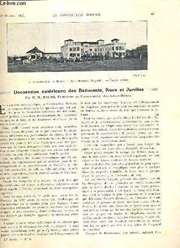 LA CONSTRUCTION MODERNE - 43e VOLUME (1927-1928) - FASCICULE N°5 - DECORATIONS EXTERIEURE DES BATIMENTS, RUES ET JARDINS, de nouveaux vitraux, eglise de Beine, immeuble pour bureaux à Paris, rue de Liege, la reconstruction de Reims (suite)