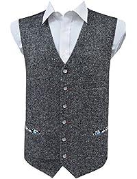 Gilet sans manche en laine mélangée tweed gris - Homme
