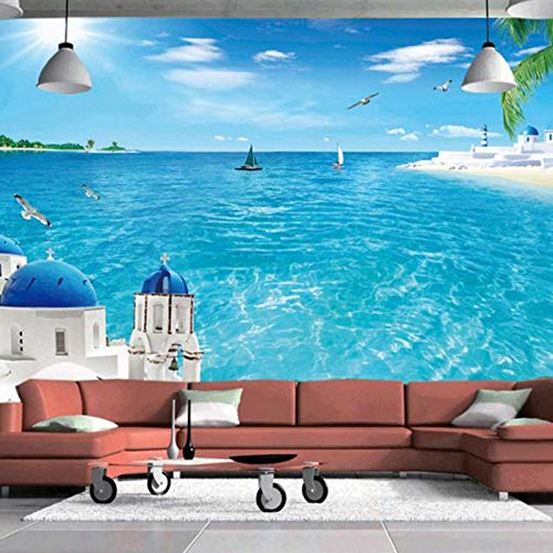 Papiers peints Personnalisé grand papier peint stéréoscopique paysage peintures Santorin photo bleu mer arbre fond d'écran décoration pour salo